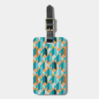 Teal And Orange Shapes Pattern Luggage Tag