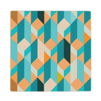 Teal And Orange Shapes Pattern Maple Wood Coaster
