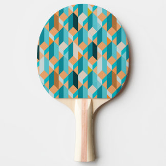 Teal And Orange Shapes Pattern Ping Pong Paddle