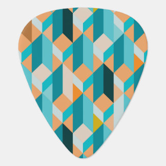 Teal And Orange Shapes Pattern Plectrum