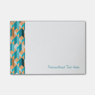 Teal And Orange Shapes Pattern Post-it Notes