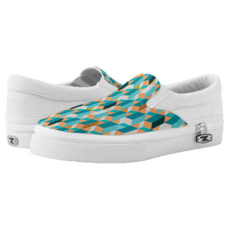 Teal And Orange Shapes Pattern Slip-On Shoes