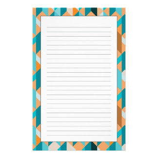 Teal And Orange Shapes Pattern Stationery