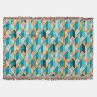 Teal And Orange Shapes Pattern Throw Blanket