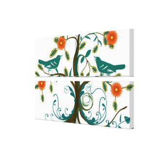 Teal and Orange Vintage Love Birds Gallery Wrapped Canvas
