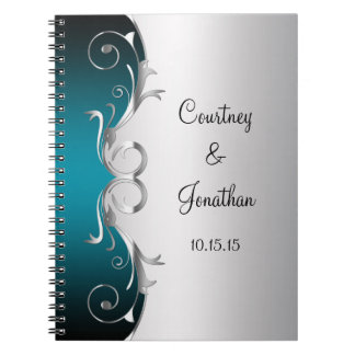 Teal and Ornate Silver Swirls Wedding Guest Book