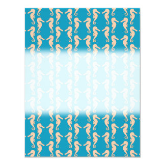 Teal and Peach Color Seahorse Pattern. 11 Cm X 14 Cm Invitation Card