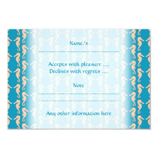 Teal and Peach Color Seahorse Pattern. 9 Cm X 13 Cm Invitation Card