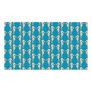 Teal and Peach Color Seahorse Pattern Business Card