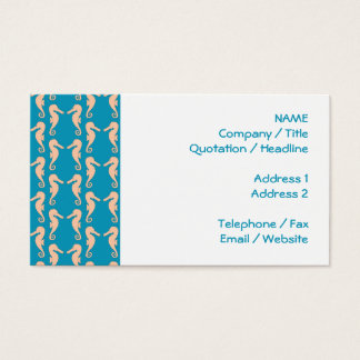 Teal and Peach Color Seahorse Pattern. Business Card