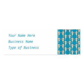 Teal and Peach Color Seahorse Pattern. Business Card Templates