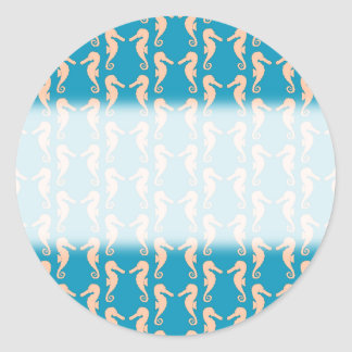 Teal and Peach Color Seahorse Pattern. Classic Round Sticker