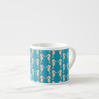 Teal and Peach Color Seahorse Pattern. Espresso Cup
