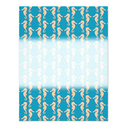 Teal and Peach Color Seahorse Pattern. Personalized Invitations