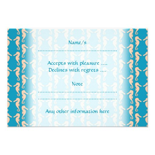Teal and Peach Color Seahorse Pattern. Custom Invite