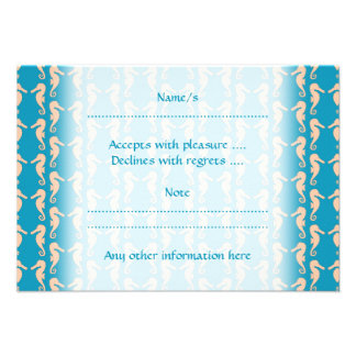 Teal and Peach Color Seahorse Pattern Custom Invite