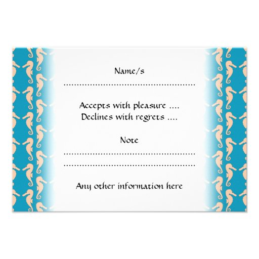Teal and Peach Color Seahorse Pattern. Invitations