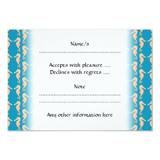 Teal and Peach Color Seahorse Pattern. 3.5x5 Paper Invitation Card