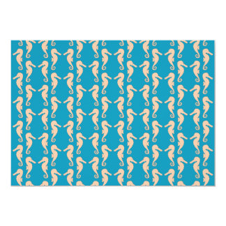 Teal and Peach Color Seahorse Pattern. 13 Cm X 18 Cm Invitation Card
