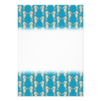 Teal and Peach Color Seahorse Pattern Custom Invitations