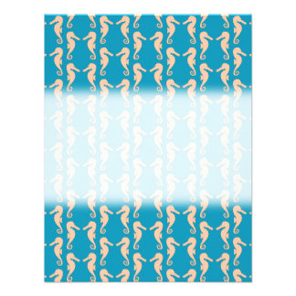 Teal and Peach Color Seahorse Pattern Personalized Invite