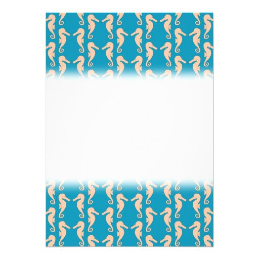 Teal and Peach Color Seahorse Pattern. Announcements