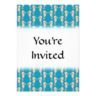 Teal and Peach Color Seahorse Pattern Invitations