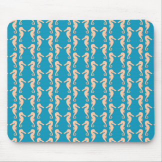 Teal and Peach Color Seahorse Pattern. Mouse Mat