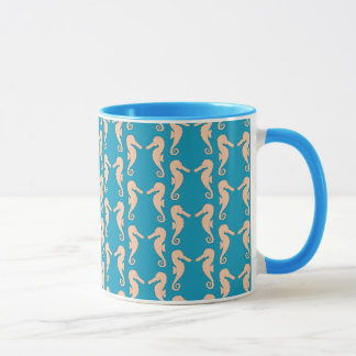 Teal and Peach Color Seahorse Pattern. Mug