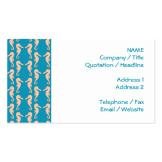 Teal and Peach Color Seahorse Pattern. Pack Of Standard Business Cards