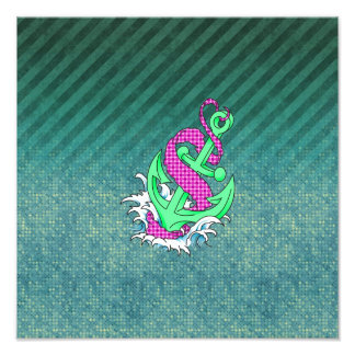 Teal and Pink Anchor on polka dots and stripes Photo