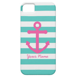Teal and Pink Anchor Phone Case