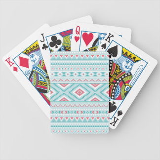 Teal and Pink Aztec Tribal Pattern Bicycle Playing Cards
