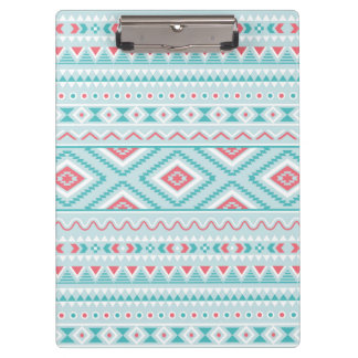 Teal and Pink Aztec Tribal Pattern Clipboard