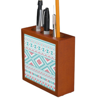 Teal and Pink Aztec Tribal Pattern Desk Organiser