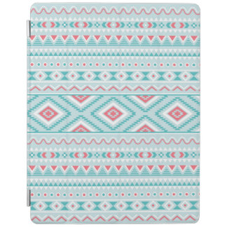 Teal and Pink Aztec Tribal Pattern iPad Cover