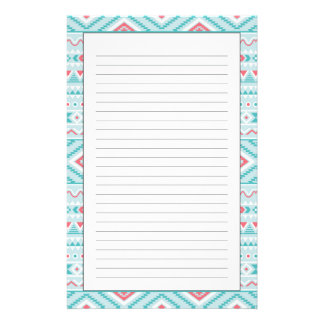 Teal and Pink Aztec Tribal Pattern Stationery