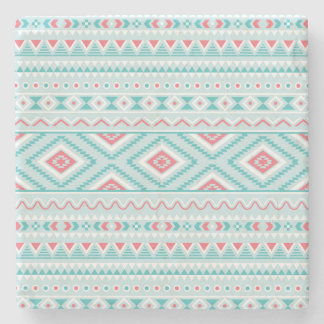 Teal and Pink Aztec Tribal Pattern Stone Coaster