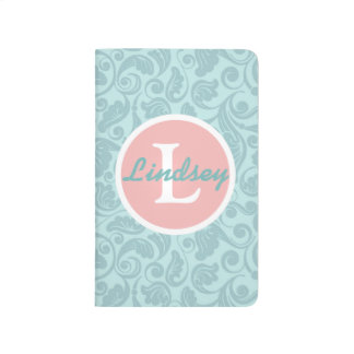 Teal and Pink Floral Monogrammed Journal