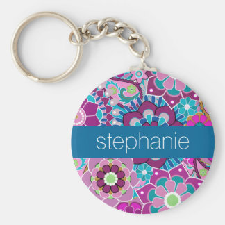 Teal and Pink Floral Pattern with Custom Baby Name Basic Round Button Key Ring