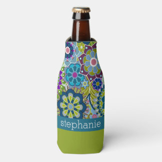 Teal and Pink Floral Pattern with Custom Baby Name Bottle Cooler