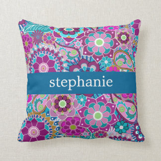Teal and Pink Floral Pattern with Custom Baby Name Cushion