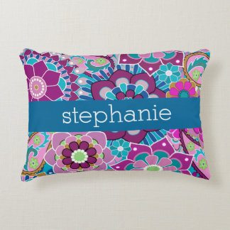 Teal and Pink Floral Pattern with Custom Baby Name Accent Pillow