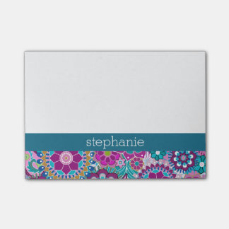 Teal and Pink Floral Pattern with Custom Baby Name Post-it® Notes