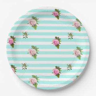 Teal and Pink Floral Vintage Paper Plates