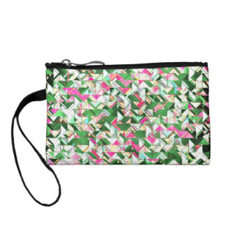 Teal and Pink Geometric Explosion Coin Purse