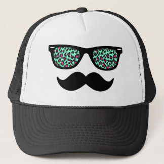 Teal and Pink Leopard Mustache Design Trucker Hat