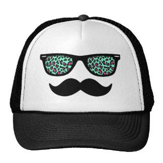 Teal and Pink Leopard Wayfarer Mustache Design Cap