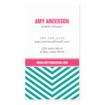 Teal and Pink Modern Chevron Stripes Pack Of Standard Business Cards