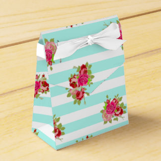 Teal and Pink Roses Candy Favor Bag Favour Box